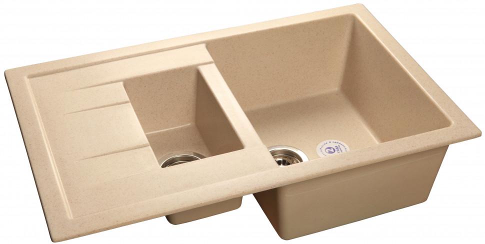 Кухонная мойка бежевый GranFest Quadro GF-Q775KL кухонная мойка песочный granfest quadro gf q650l