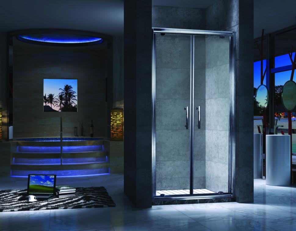 Душевая дверь распашная 90 см прозрачное стекло Esbano ES-90-2DV шторка для ванны 150 см esbano es 1415 прозрачное