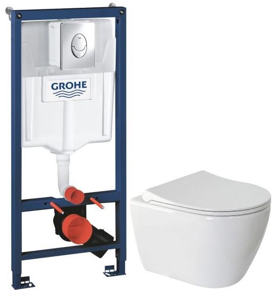Комплект подвесной унитаз Berges Geo 082101 + система инсталляции Grohe 38721001