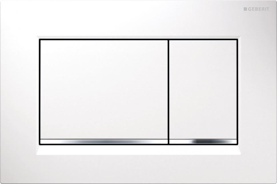 Смывная клавиша Geberit Sigma30 белый/глянцевый хром/белый для двойного смыва 115.883.KJ.1 цена и фото