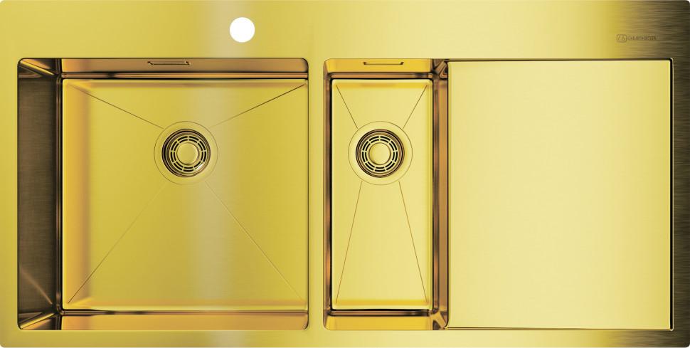 Кухонная мойка светлое золото Omoikiri Akisame 100-2-LG-L мойка кухонная omoikiri akisame 78 lg r 780 510 светлое золото 4973086