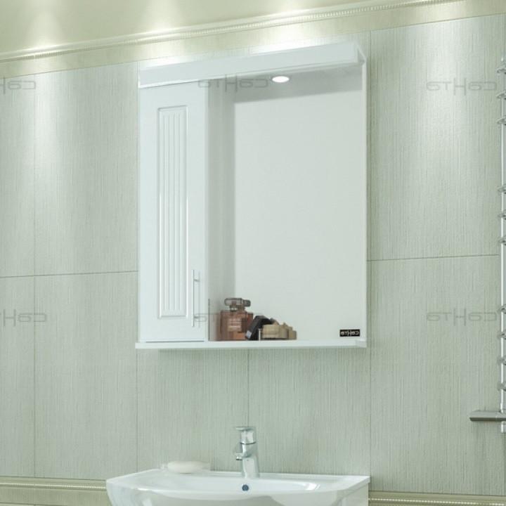 Зеркальный шкаф 59х74 см белый глянец Санта Сиэтл 122001 фото