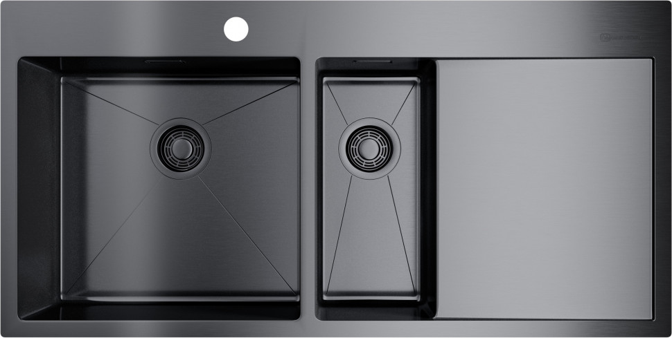 цена на Кухонная мойка вороненая сталь Omoikiri Akisame 100-2-GM-L