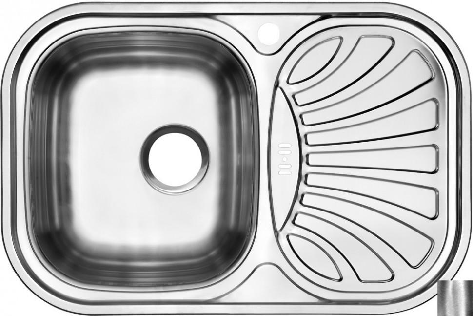 Кухонная мойка полированная сталь Ukinox Галант GAP737.488 -GW6K 2L