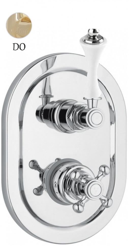Встраиваемый термостат для ванны золото 24 карат, ручка белая Cezares Margot MARGOT-VDIM2-T-03/24-Bi