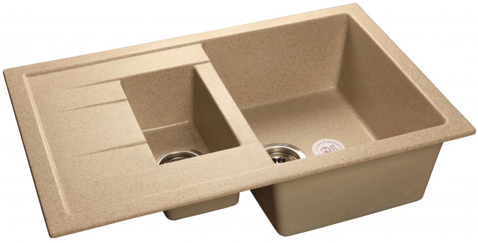 Кухонная мойка песочный GranFest Quadro GF-Q775KL кухонная мойка песочный granfest quadro gf q650l
