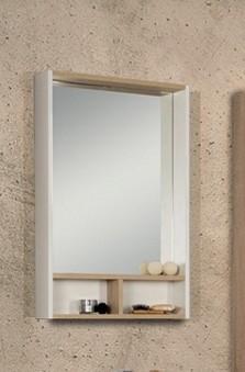 Зеркальный шкаф Йорк 55 Белый глянец/Ясень фабрик Aquaton 1A173202YOAV0 акватон шкаф пенал акватон йорк белый ясень фабрик