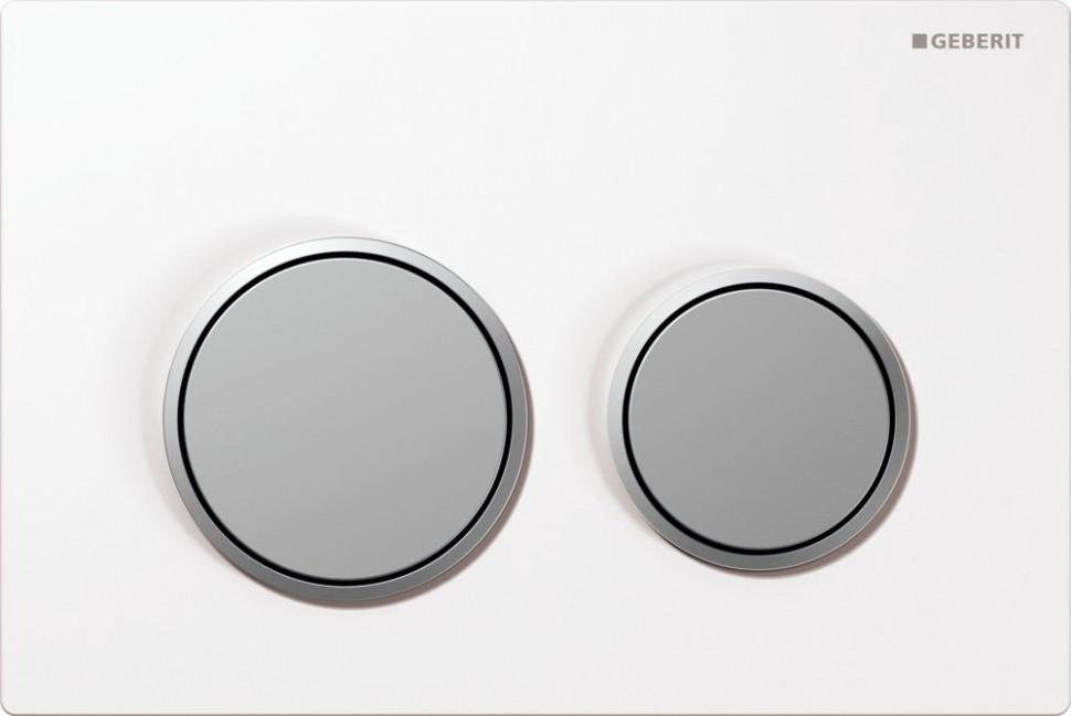 Фото - Смывная клавиша Geberit Omega20 белый/матовый хром/матовый хром для двойного смыва 115.085.KL.1 комплект патрубков geberit для унитаза заглушки крепления матовый хром 152 438 46 1
