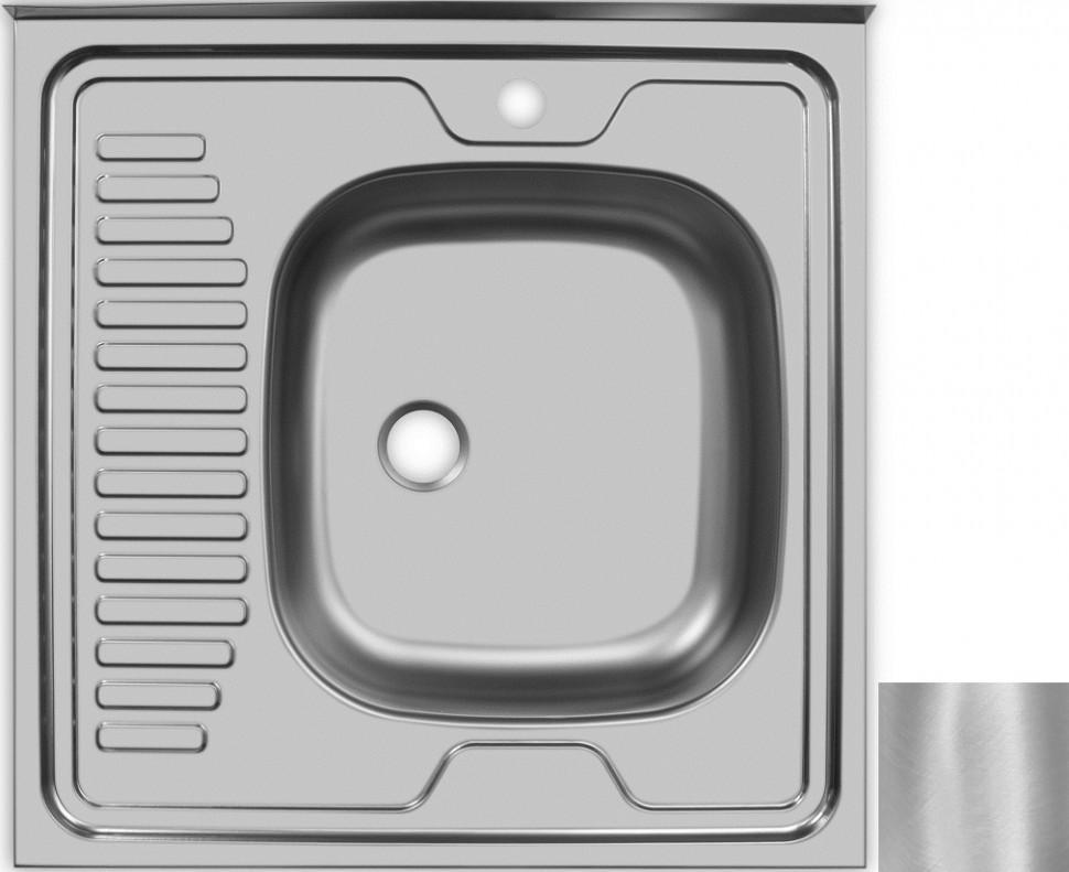 Кухонная мойка матовая сталь Ukinox Стандарт STD600.600 ---5C 0R- мойка накладная ukinox стандарт eco4 левая 800х600х145мм матовая