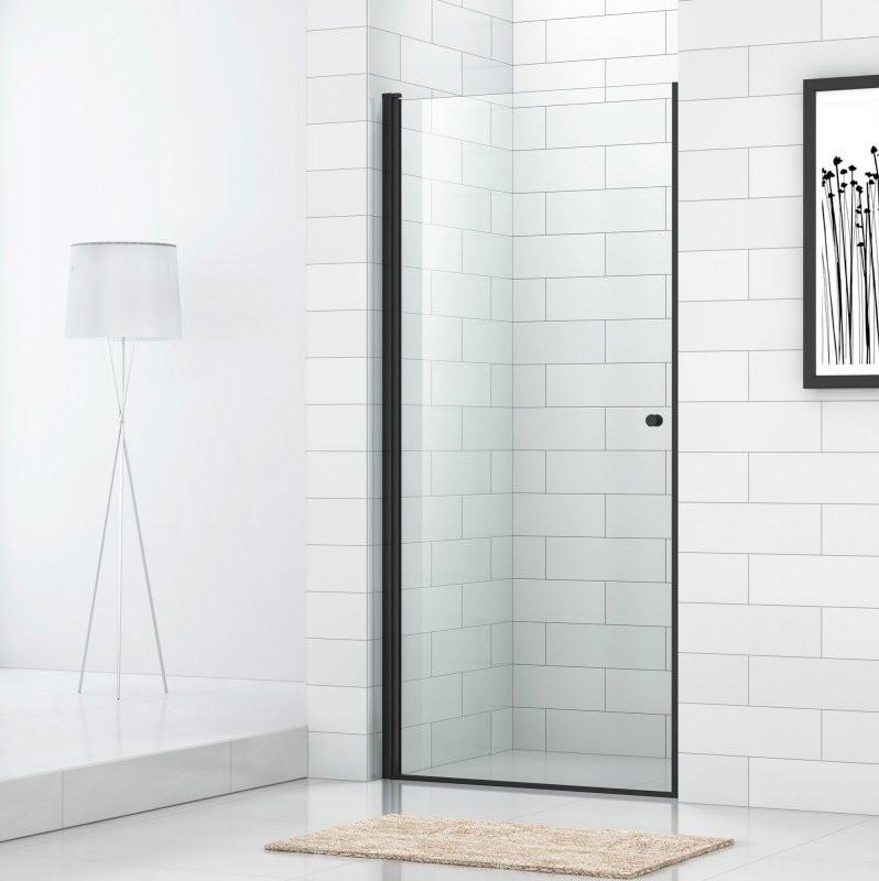 Душевая дверь 90 см Cezares ECO-O-B-1-90-C-NERO прозрачное душевая дверь распашная cezares eco 90 см прозрачное стекло eco o b 2 90 c cr