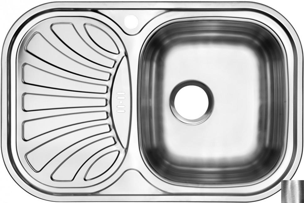 Кухонная мойка полированная сталь Ukinox Галант GAP737.488 -GW8K 1R кухонная мойка полированная сталь ukinox фаворит fap770 480 gw8k 2l