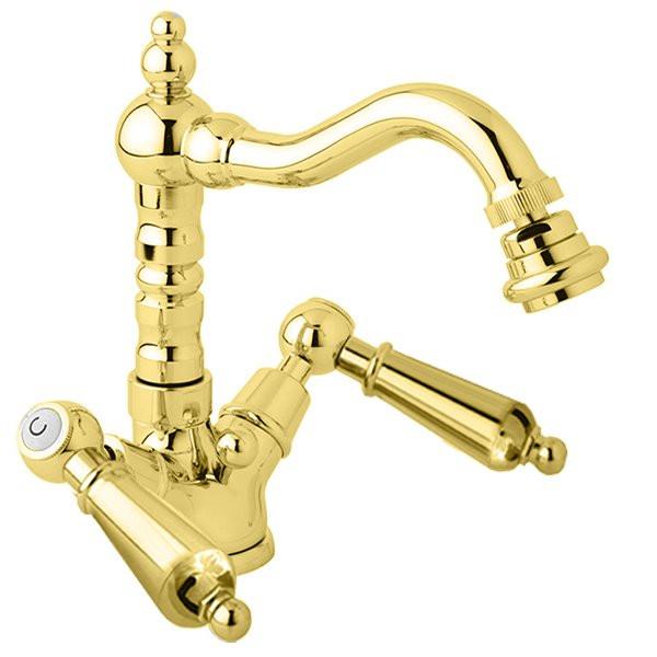 Смеситель для биде с донным клапаном золото 24 карат, ручки металл Cezares First FIRST-BS2-03/24-M