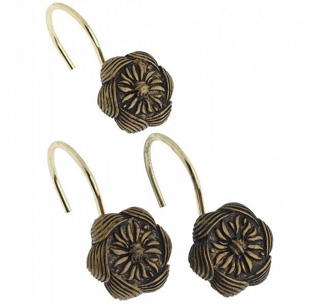 Набор из 12 крючков для шторки Carnation Home Fashions Auburn Antique Gold PHP-AU/62 фото