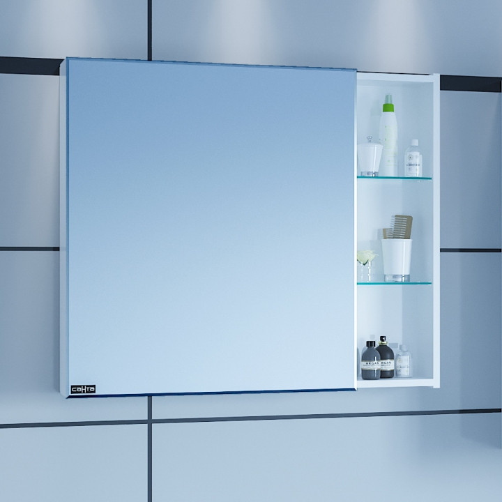 Зеркальный шкаф 86х73 см белый глянец R/L Санта Дублин 123007 зеркальный шкаф санта коралл 80 l белый