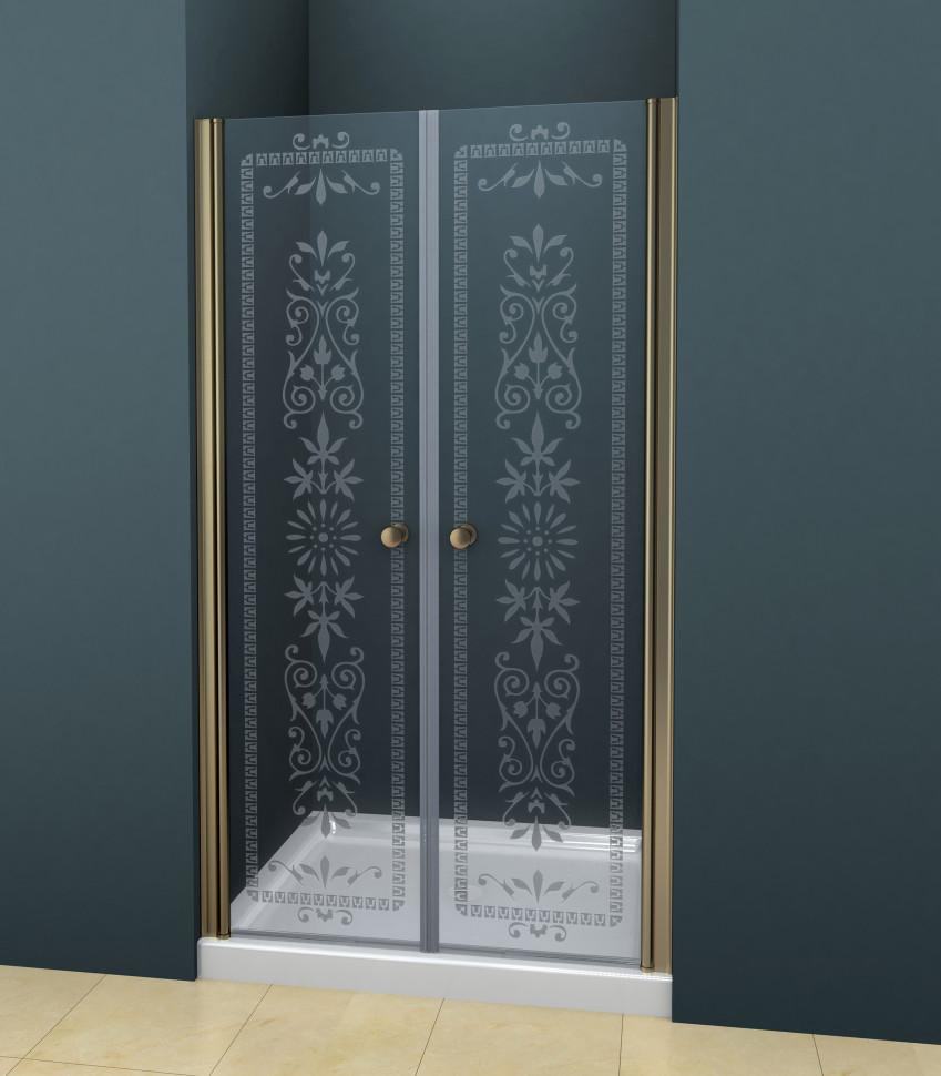 купить Душевая дверь распашная Cezares Royal Palace 175 см прозрачное c матовым узором ROYAL PALACE-A-B-2-175-CP-Br дешево