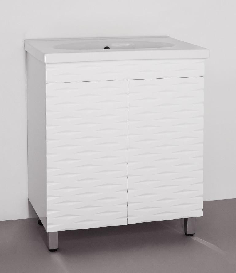 цена на Тумба с раковиной белый глянец 73,4 см Style Line Папирус LC-00000301T