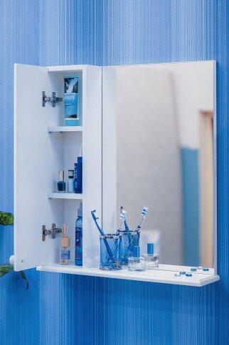 Зеркальный шкаф 55х70 см белый L Sanflor Карина H0000000818 шкаф зеркальный topline rio 55х70 см правый белый