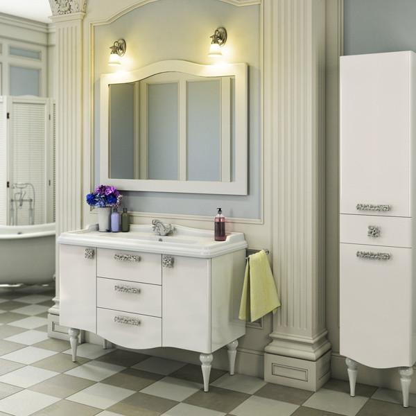 Тумба с раковиной белый глянец 120 см Comforty Монако 00003132224 зеркало comforty монако 120 белое