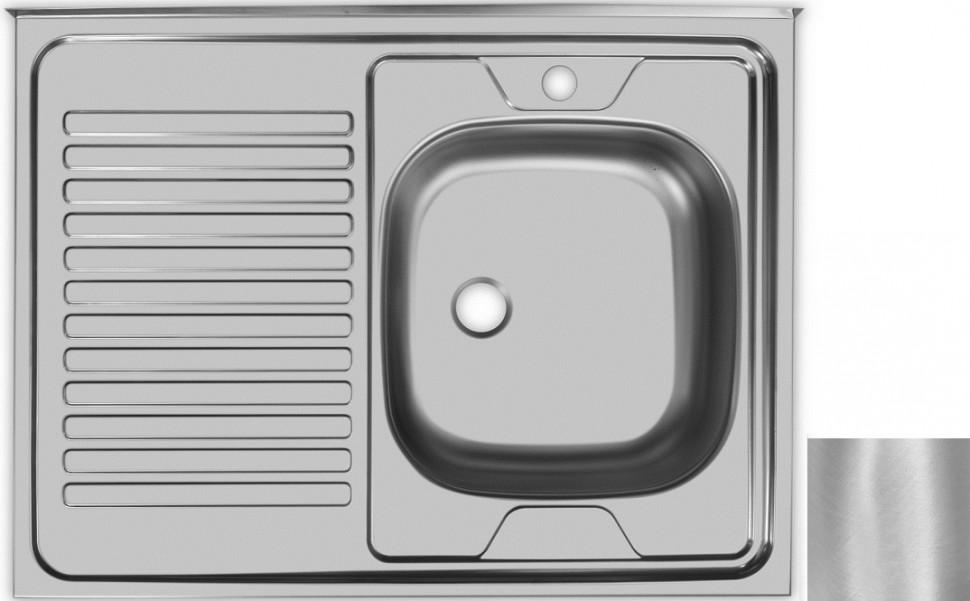 Кухонная мойка матовая сталь Ukinox Стандарт STD800.600 ---4C 0R- мойка накладная ukinox стандарт eco4 левая 800х600х145мм матовая