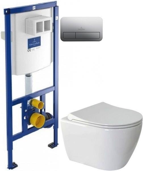 Комплект подвесной унитаз Berges Geo 082101 + система инсталляции Villeroy & Boch 92246100 + 92249061 фото