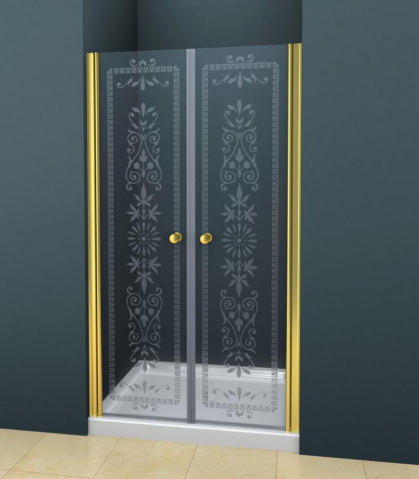 купить Душевая дверь распашная Cezares Royal Palace 175 см прозрачное c матовым узором ROYAL PALACE-A-B-2-175-CP-G дешево