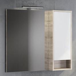 Зеркальный шкаф 90х80 см белый глянец/дуб сонома Comforty Гамбург 00004142227 цена и фото