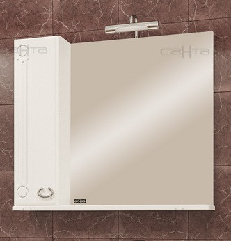 Зеркальный шкаф 80х81 см белый глянец Санта Коралл 118001 зеркальный шкаф санта коралл 80 l белый