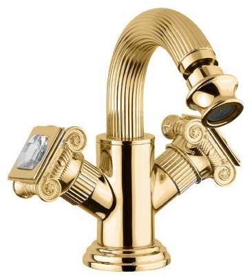 Смеситель на биде с донным клапаном золото 24 карата, ручки swarovski Cezares Olimp OLIMP-BS2-03/24-Sw цены