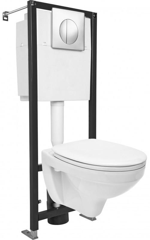Комплект подвесной унитаз + система инсталляции Cersanit Delfi SET-DEL/Black/TPL/Cg-w комплект унитаз cersanit delfi s set del vec tpl mo cm w