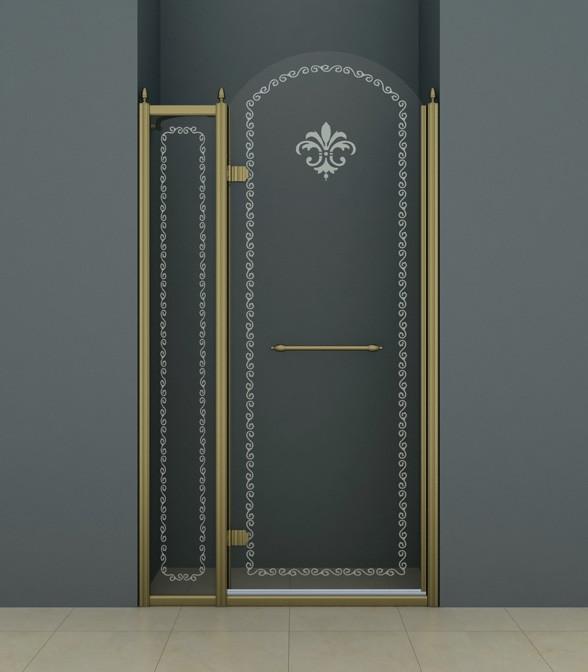 Душевая дверь распашная Cezares Retro 120 см прозрачное c матовым узором RETRO-A-B-12-120-CP-Br-L