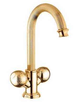 Смеситель на раковину с донным клапаном золото 24 карата, ручки металл Cezares Olimp OLIMP-LS2-03/24-M цены
