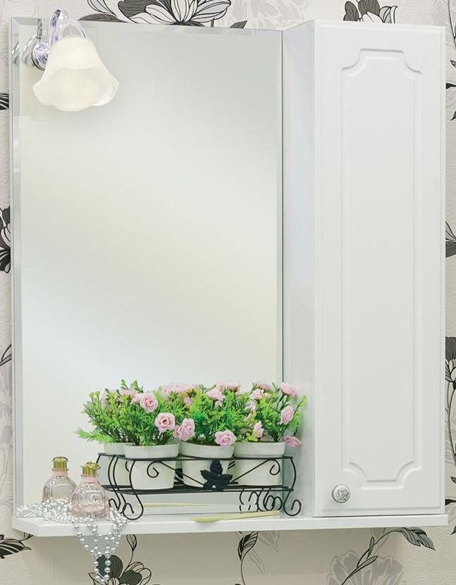 Зеркальный шкаф 60х72,8 см белый глянец R Sanflor Ксения H0000000115