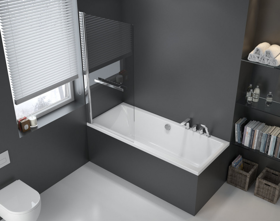 Шторка для ванны 73 см прозрачное стекло Excellent 900 KAAC.1609.730.LP