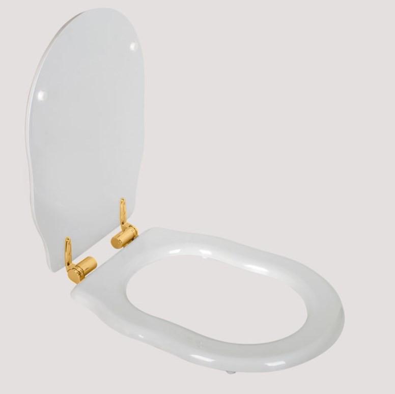 Сиденье для напольного унитаза с микролифтом белый/золото Tiffany World Bristol TWBR72bi/oro цена