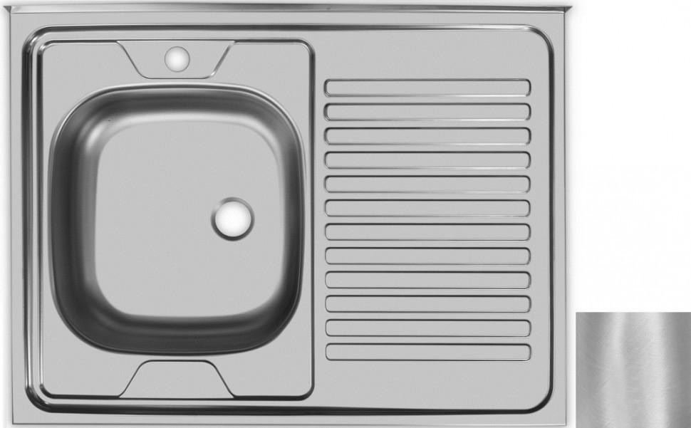 Кухонная мойка матовая сталь Ukinox Стандарт STD800.600 ---5C 0L- мойка накладная ukinox стандарт eco4 левая 800х600х145мм матовая