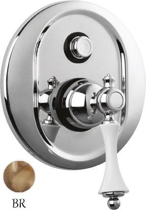 Встраиваемый смеситель для ванны бронза, ручка белая Cezares Margot MARGOT-VDIM-02-Bi