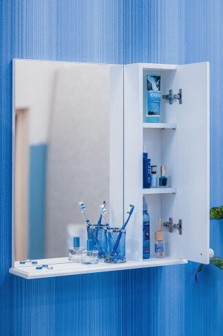 Зеркальный шкаф 55х70 см белый R Sanflor Карина H0000000807 шкаф зеркальный topline rio 55х70 см правый белый