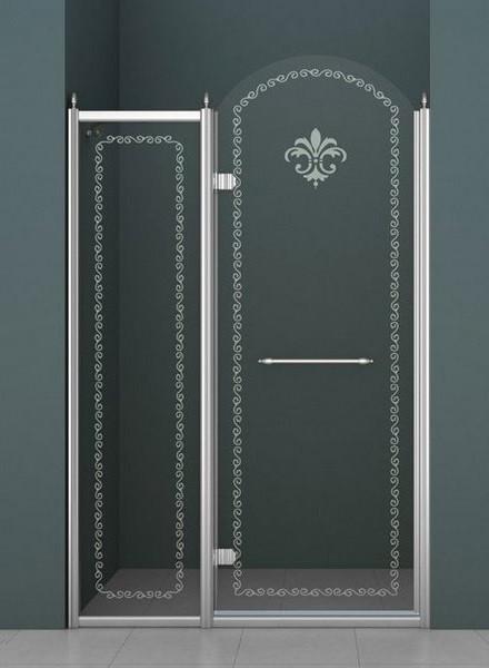 Душевая дверь распашная Cezares Retro 120 см прозрачное c матовым узором RETRO-A-B-12-120-CP-Cr-L