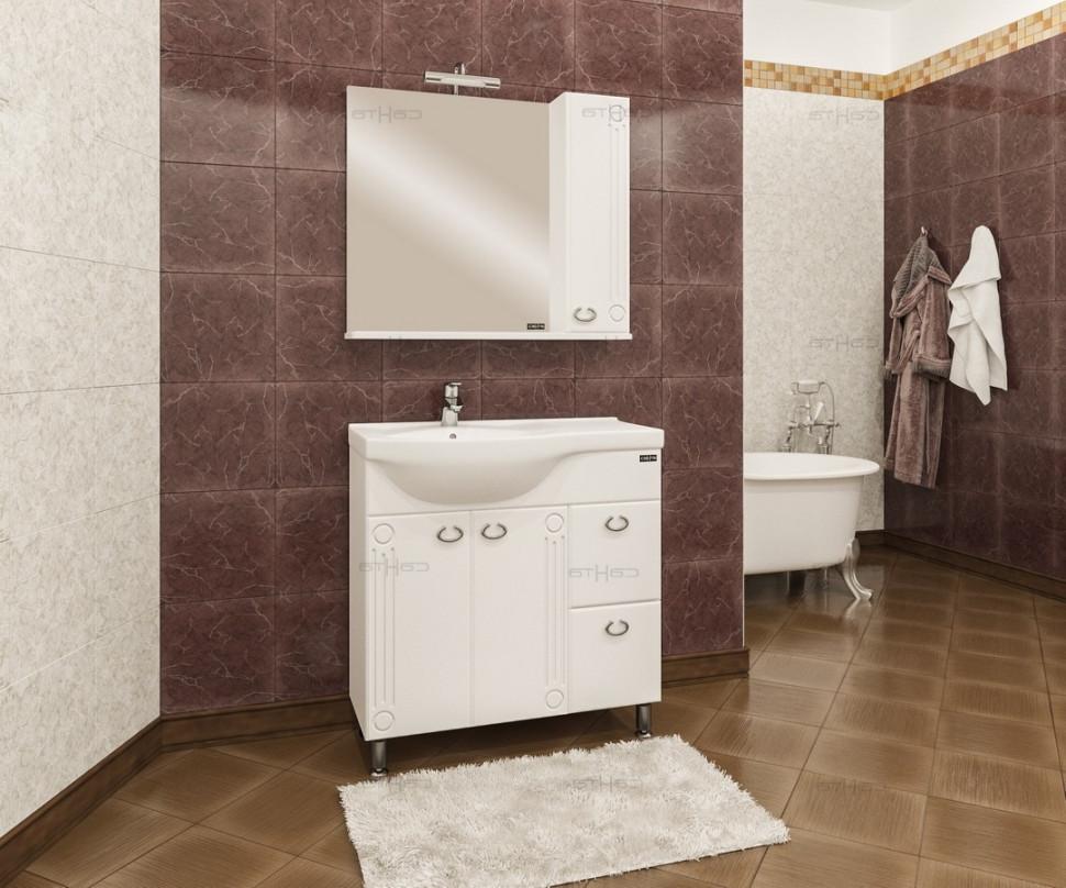 Тумба белый глянец 80 см Санта Коралл 218002 зеркальный шкаф санта коралл 80 l белый