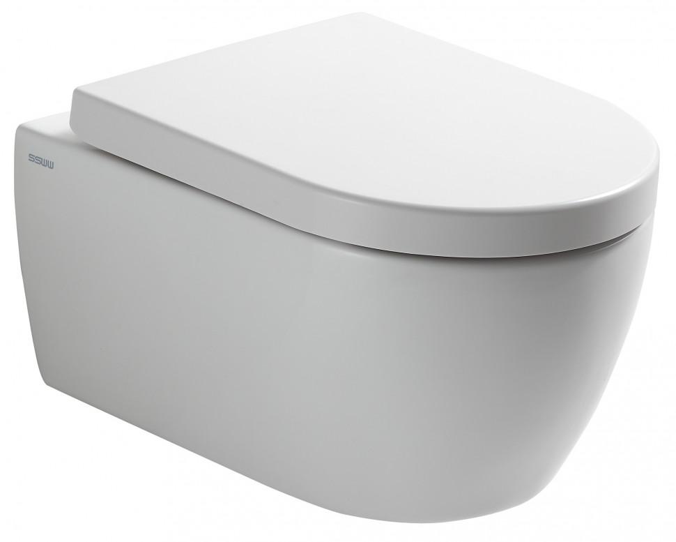 Фото - Подвесной безободковый унитаз с сиденьем микролифт SSWW CT2038V унитаз подвесной belbagno amanda безободковый с сиденьем микролифт bb051chr bb051sc