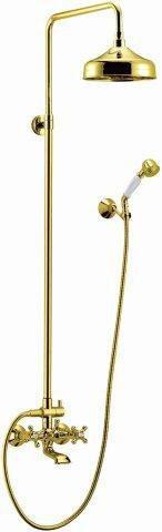 Душевая колонна со смесителем для ванны, верхним и ручным душем золото, ручки золото Cezares Retro RETRO-CVD2-03