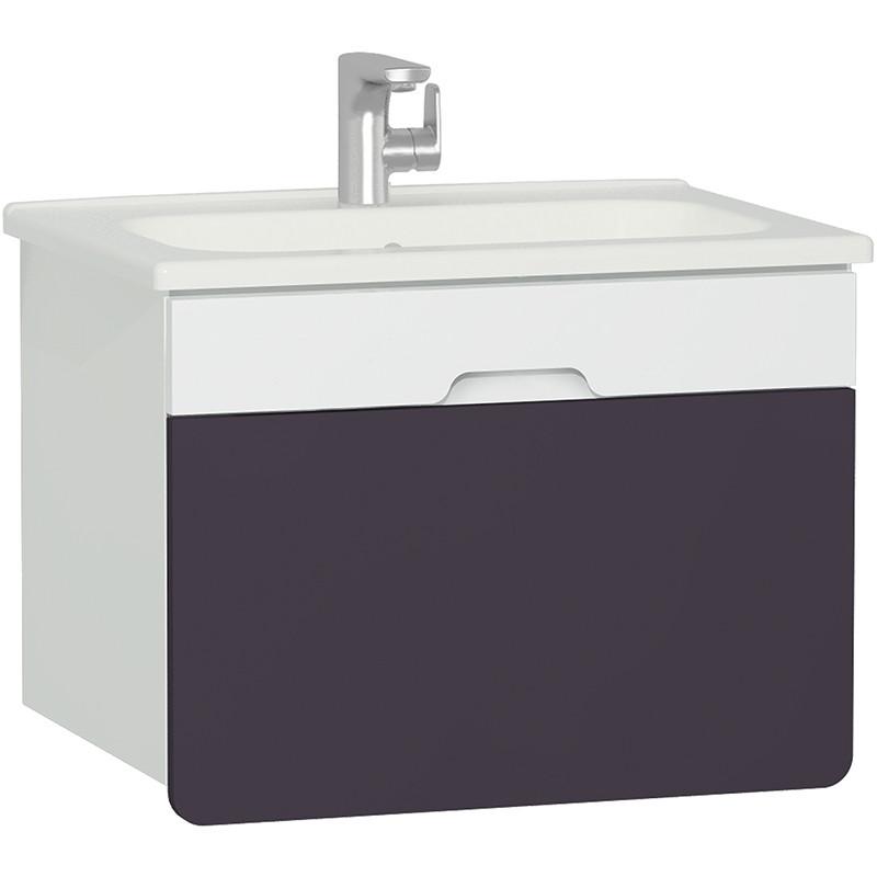 Тумба с раковиной белый матовый/фиолетовый 70 см Vitra D-Light 58133 шкаф пенал vitra d light 36 подвесной l белый матовый