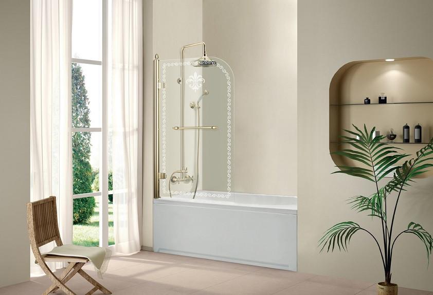 Шторка для ванны Cezares Retro 81 см прозрачное c матовым узором стекло RETRO-A-V-1-80/145-CP-G-L шторка для ванны cezares retro retro a v 1 80 145 cp g l