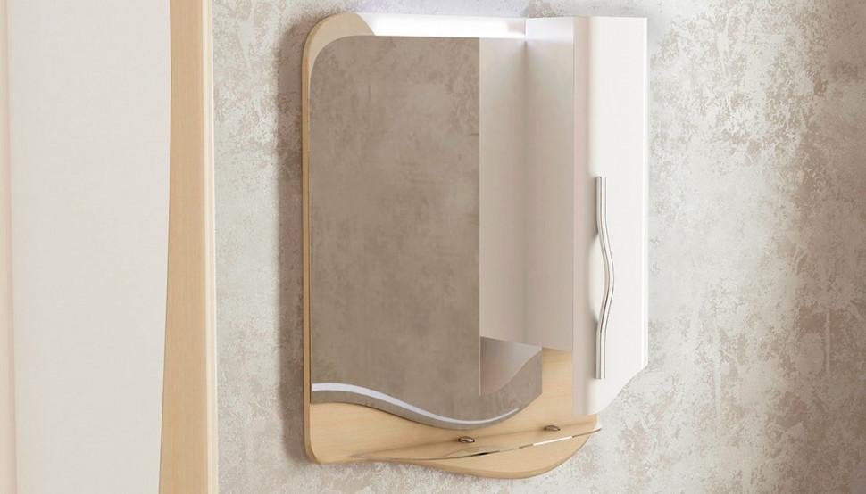 Зеркальный шкаф 59х77,99 см светлый лен/белый Velvex Landush zsLAN.60-26.11.21