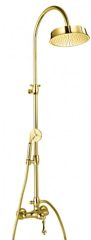 Душевая колонна со смесителем, верхним и ручным душем золото 24 карат, ручка золото 24 карат Cezares Margot MARGOT-CD-03/24-M