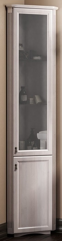 Пенал напольный угловой белый матовое стекло Opadiris Клио Z0000003599