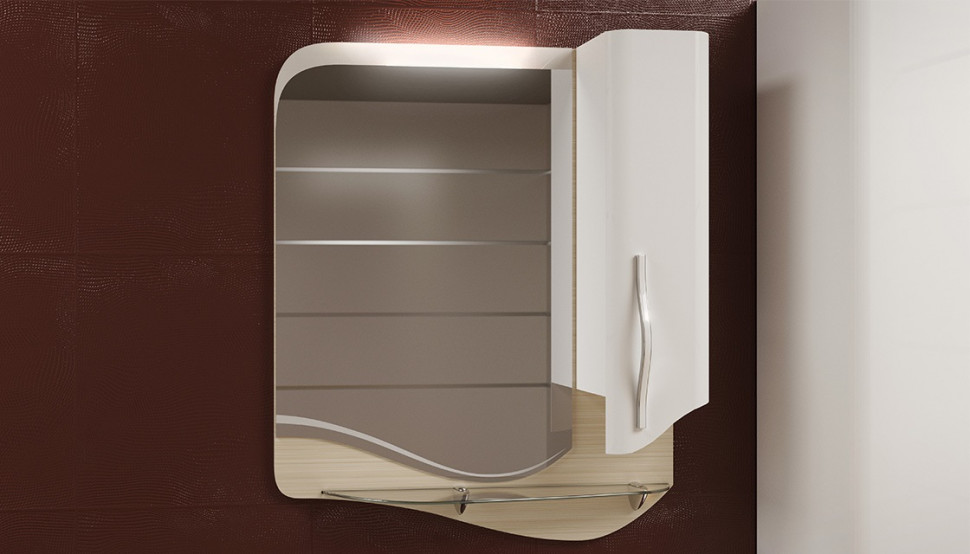 Зеркальный шкаф 64,7х79 см светлый лен/белый Velvex Landush zsLAN.65-26.11.21