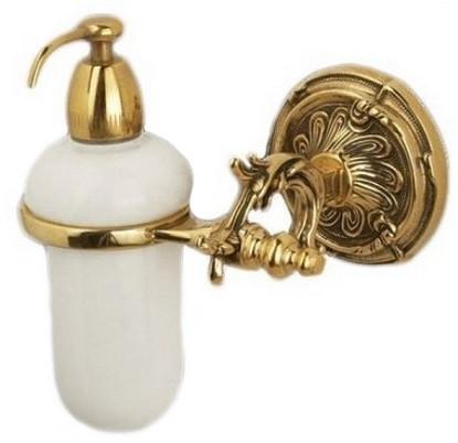 Дозатор жидкого мыла с держателем античное золото