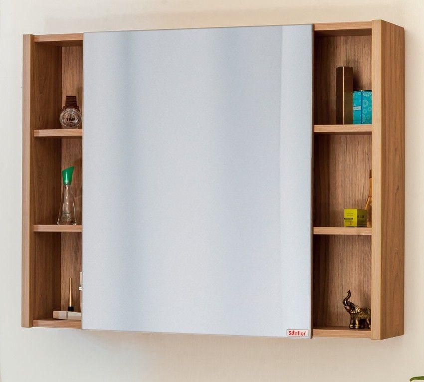 Зеркальный шкаф 91х82 см швейцарский вяз L Sanflor Мехико H0000001165