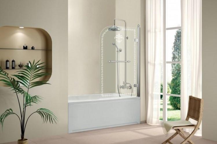 Шторка для ванны Cezares Retro 81 см прозрачное c матовым узором стекло RETRO-A-V-1-80/145-CP-Cr-R шторка для ванны cezares retro retro a v 1 80 145 cp g l